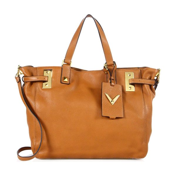 Valentino my rockstud soft leather tote in cognac - Polished pebbled leather tote with hanging studded-V...