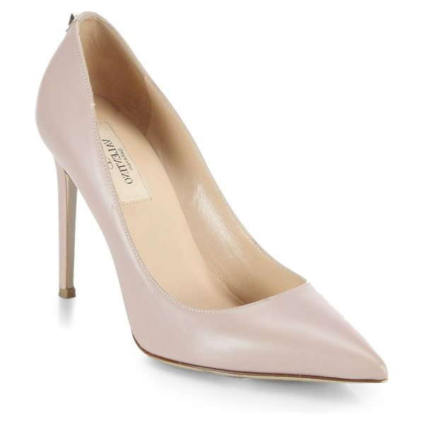 VALENTINO Single rockstud leather pumps in blush - Fashioned from the finest Italian leather, ever-classic...