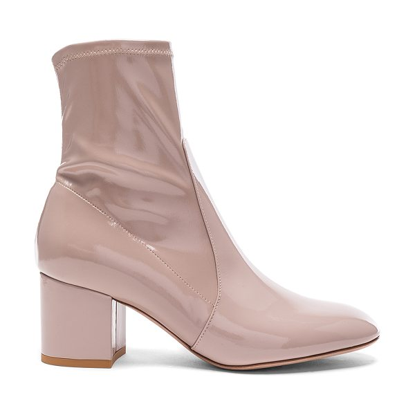 Valentino Patent Leather Booties in neutrals - Patent leather upper with leather sole.  Made in Italy. ...