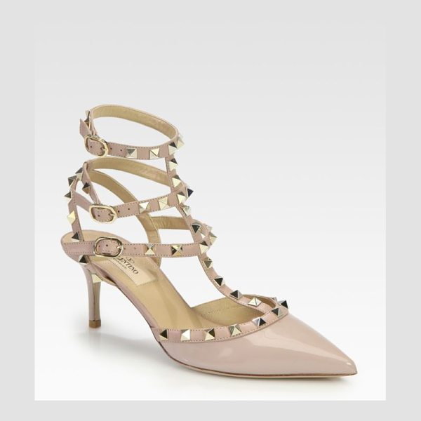 Valentino Patent leather rockstud pumps in blush - Iconic metal studs add street-style cool to this...