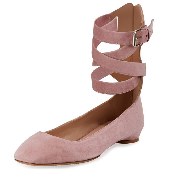 """Valentino Plum Suede Lace-Up Ballet Flat in pink - Valentino Garavani suede ballerina flat. 0.3"""" flat..."""