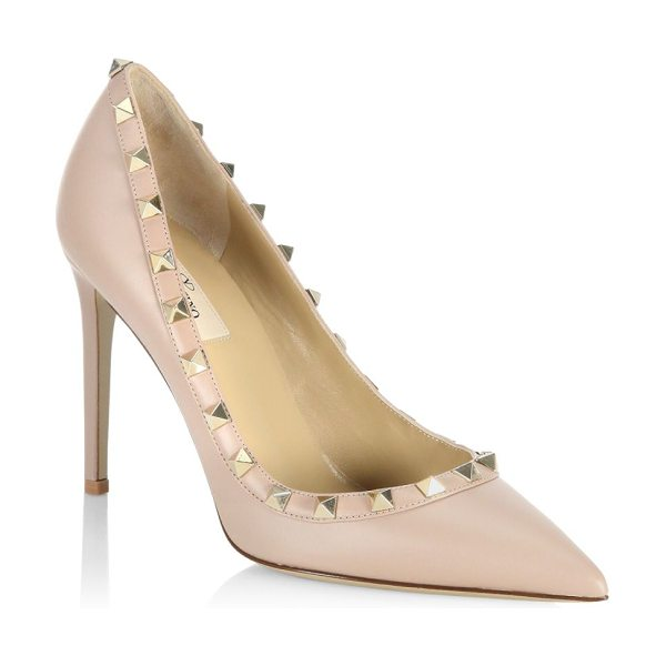 Valentino point toe leather pumps in poudre - Leather stiletto pumps featuring studded details....