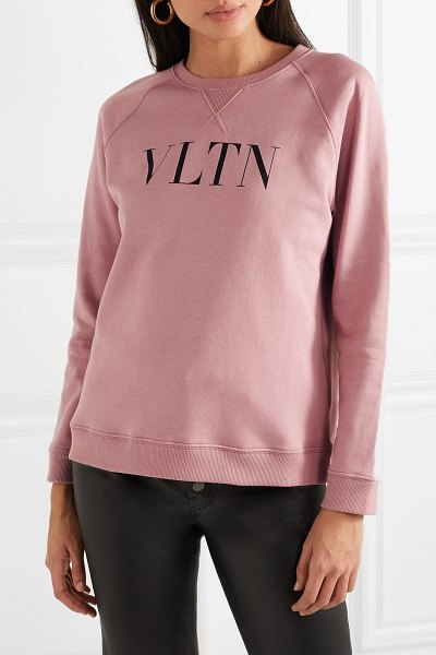 Valentino printed cotton-blend jersey sweatshirt in pink - Valentino's sweatshirt is made from cotton-blend jersey...