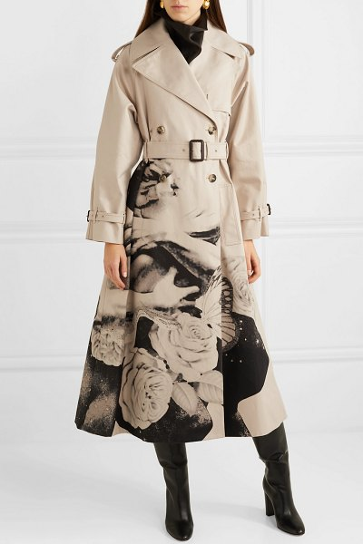 Valentino printed cotton-gabardine trench coat in beige