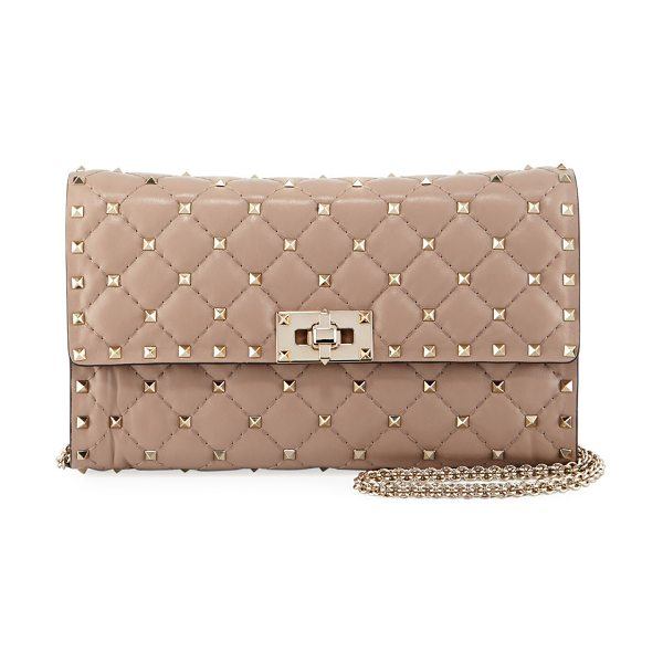Valentino Quilted Rockstud Spike Chain Shoulder Bag in beige - Valentino Garavani quilted lambskin wallet-on-chain....