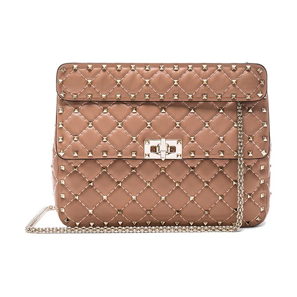 Valentino Quilted rockstud medium shoulder bag in neutrals - Quilted leather with leather lining and pale gold-tone...