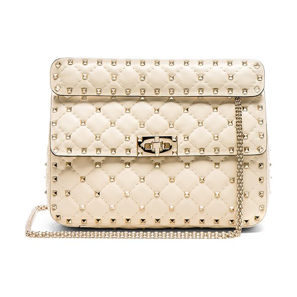Valentino Quilted Rockstud Spike Medium Shoulder Bag in ivory - Pyramid stud embellished quilted leather with leather...