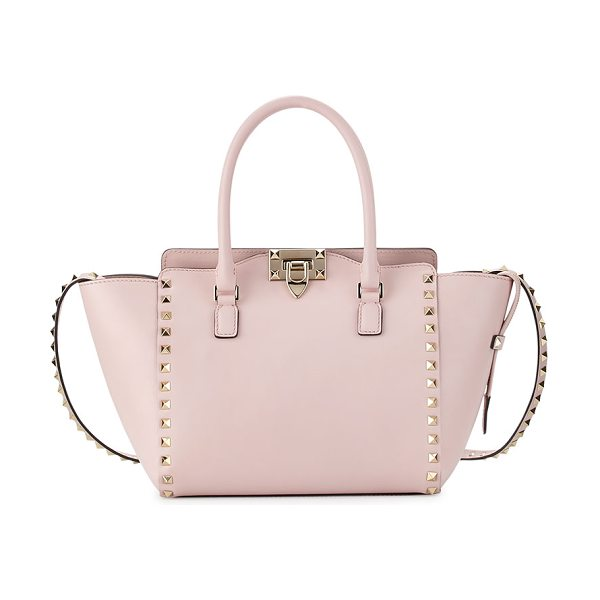 Valentino Rockstud Small Double-Handle Shopper Tote Bag in pale pink - Valentino Garavani calf leather shopper tote. Signature...
