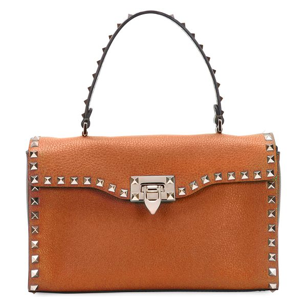 Valentino Rockstud Small Single-Handle Satchel Bag in tan - Valentino grained calf leather satchel bag. Signature...