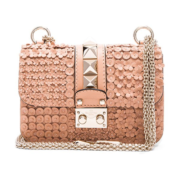 Valentino Ricamo garden party mini lock shoulder bag in neutrals,floral