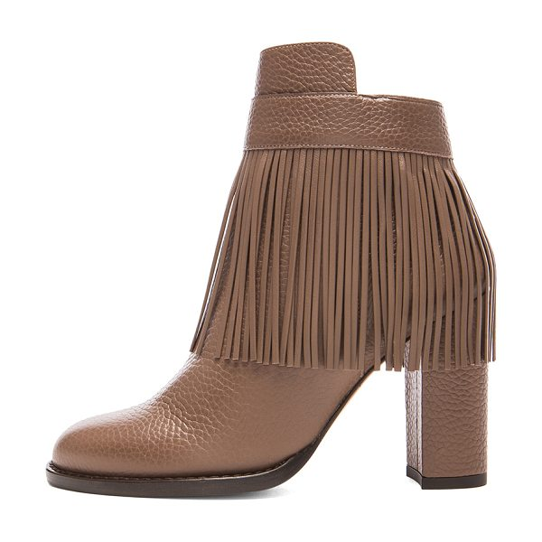 VALENTINO Rockee fringe ankle leather booties in brown, neutrals - Grained leather upper with leather sole.  Made in Italy....