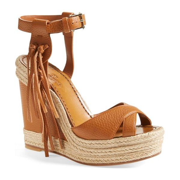 VALENTINO rockee fringe wedge sandal in brown - Ropy espadrille trim accents the soaring wedge and...