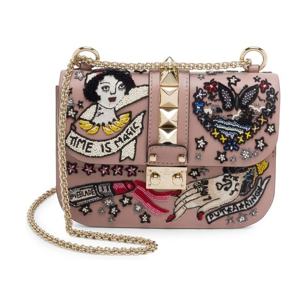 VALENTINO rocklock embellished leather chain shoulder bag in poudre - Whimsical beaded embroidery enlivens leather shoulder...
