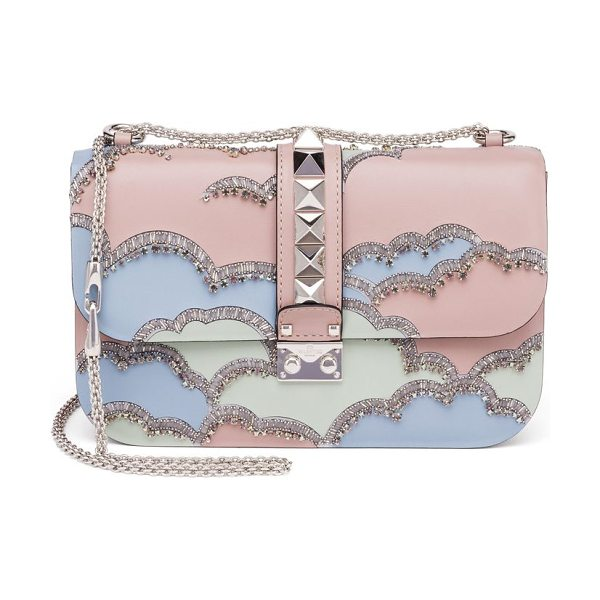 Valentino rocklock medium crystal leather crossbody bag in pink multi - Signature studded style with crystal cloud design. Chain...