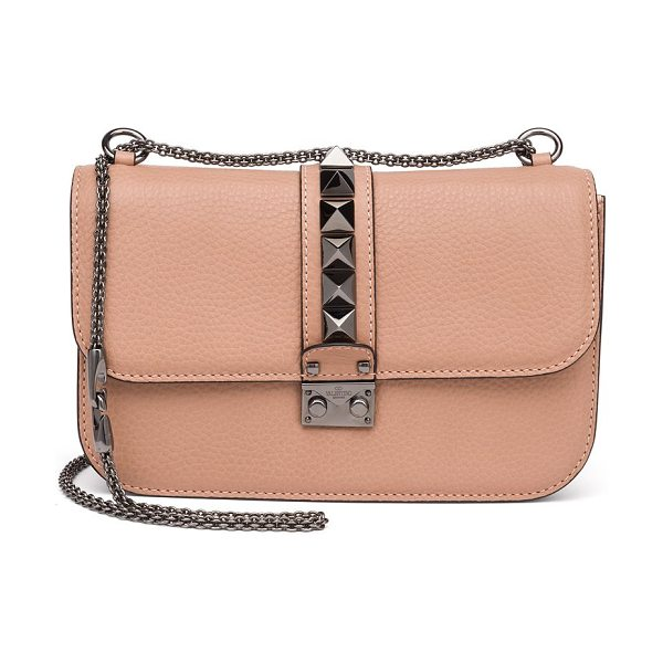 Valentino rocklock medium leather crossbody bag in nude - Signature design with sleek chain strap and iconic...