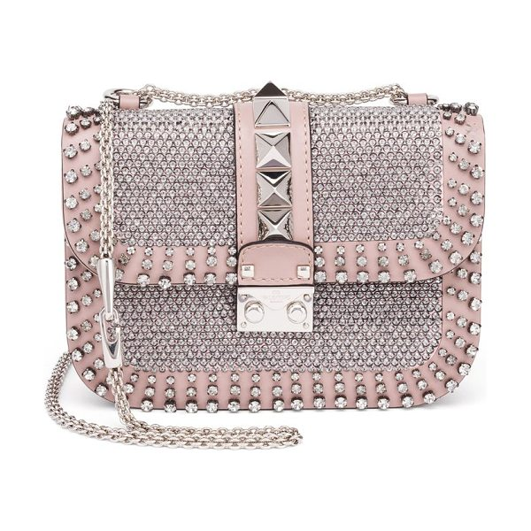 VALENTINO Rocklock small crystal-studded leather shoulder bag - Crystal-studded leather style with adjustable chain....