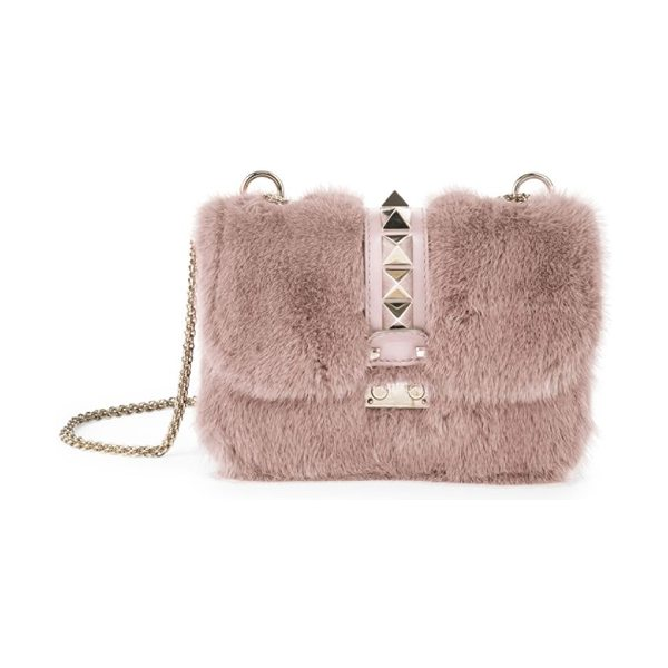 Valentino rocklock small mink fur & leather shoulder bag in light pink - Plush mink fur lends luxe look to studded shoulder bag....