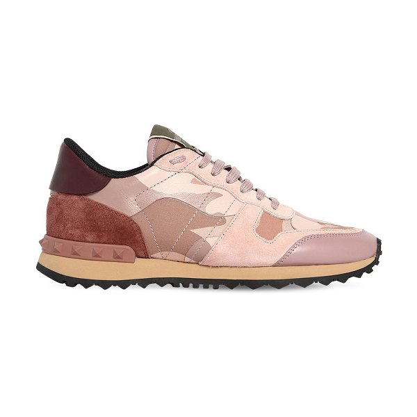 Valentino Rockrunner leather & suede sneakers in blush - Lace-up closure. Leather and suede upper. All over...