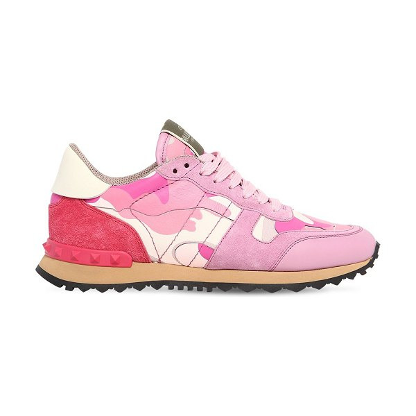 Valentino Rockrunner leather & suede sneakers in pink/fuchsia - Lace-up closure. Leather and suede upper. All over...