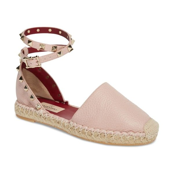 Valentino rockstud ankle strap espadrille in water rose - The classic espadrille gets a rocker-chic makeover with...