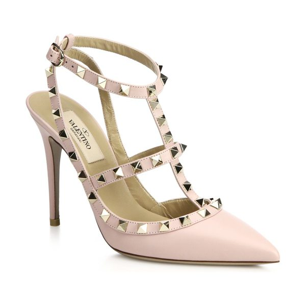 VALENTINO Rockstud ankle-strap pumps - A sugary hue adds an eye-catching finish to these...