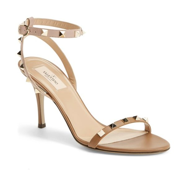 Valentino rockstud ankle strap sandal in tan - A streamlined sensibility and statement pyramid studs...