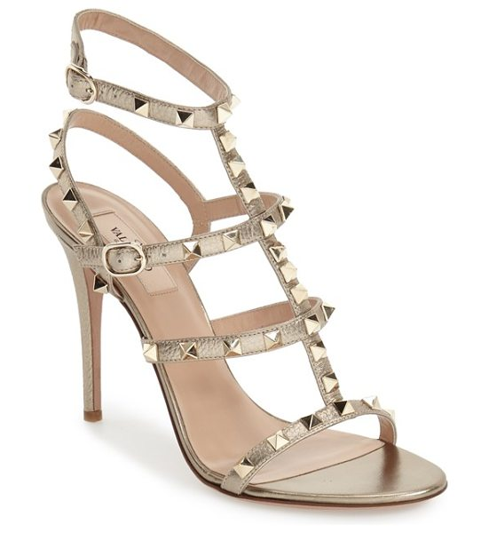 Valentino rockstud ankle strap sandal in metallic gold leather - Valentino's signature gilded pyramid studs add edgy...