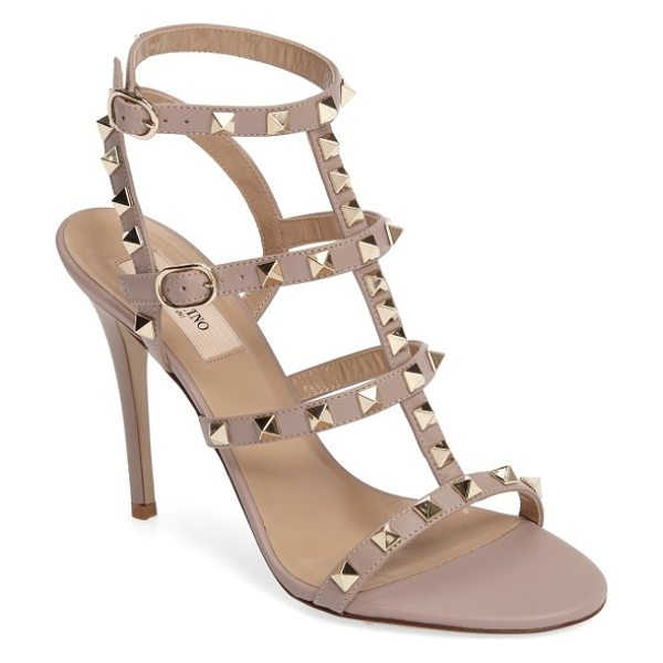 Valentino 'rockstud' ankle strap sandal in poudre leather - Valentino's signature gilded pyramid studs add edgy...
