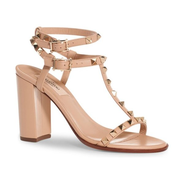 Valentino rockstud ankle strap sandal in camel rose leather - A chunky wrapped heel refreshes the iconic style of a...