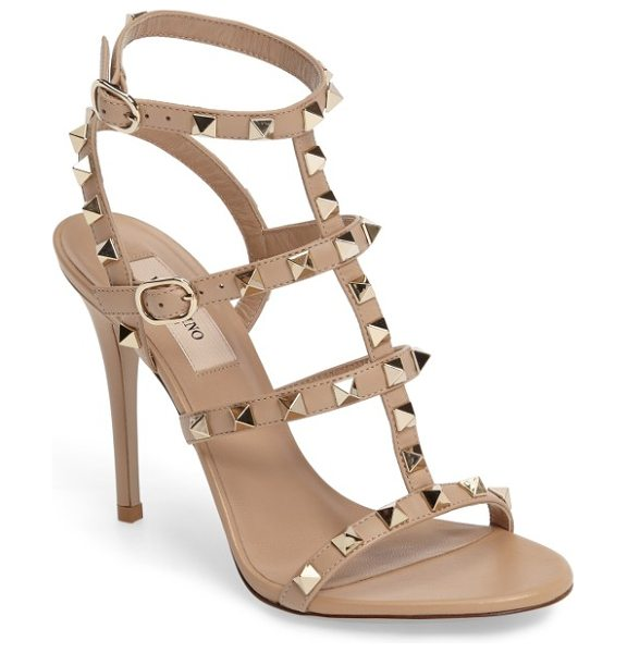 Valentino 'rockstud' ankle strap sandal in camel rose - Valentino's signature gilded pyramid studs add edgy...