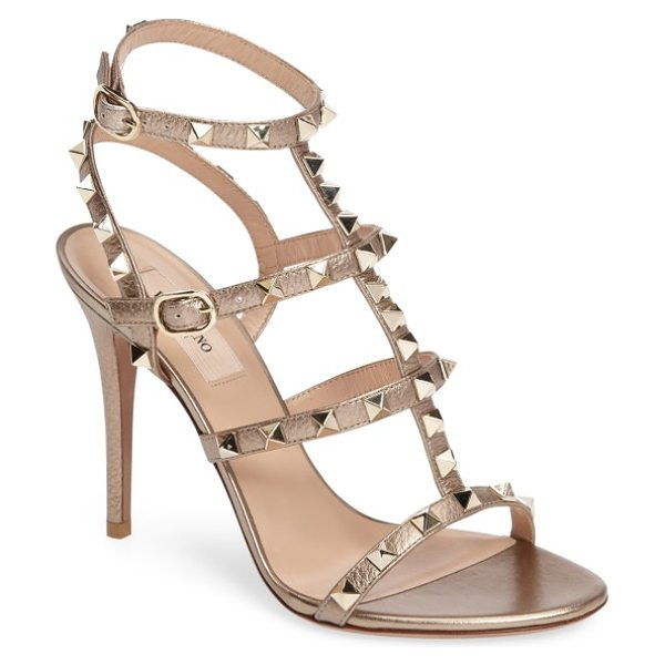 VALENTINO 'rockstud' ankle strap sandal in rose gold - Valentino's signature gilded pyramid studs add edgy...
