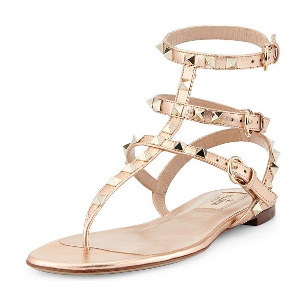 Valentino Rockstud ankle-wrap thong sandal in metal rose - ONLYATNM Only Here. Only Ours. Exclusively for You....