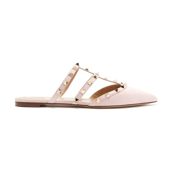 Valentino Rockstud Backless Suede Flats in light pink - Valentino - Valentino's blush-pink suede Rockstud flats...
