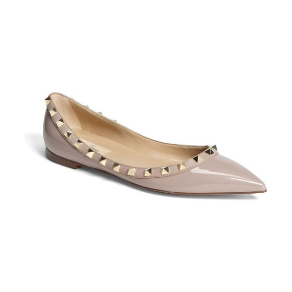 Valentino rockstud ballerina flat in beige - Gilded pyramid studs add edgy opulence to an iconic...