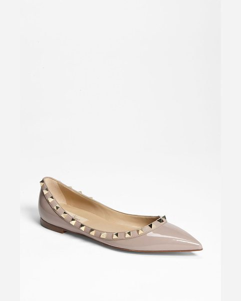 Valentino rockstud ballerina flat in poudre - Pyramid studs follow the trim on a shiny leather flat...