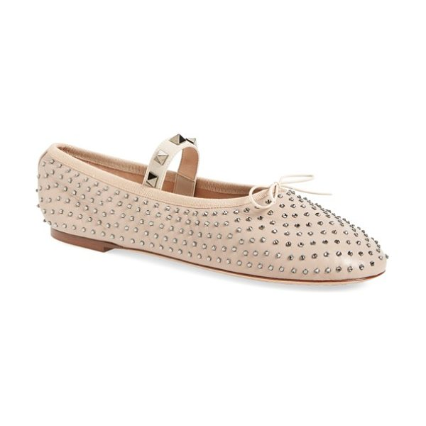 Valentino rockstud ballet flat in nude leather - Signature Rockstud hardware gleams on the mary jane...