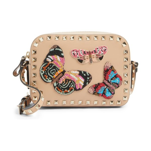 Valentino rockstud beaded butterfly leather camera crossbody bag in camel rose - Exquisitely beaded butterflies-the fashion house's...