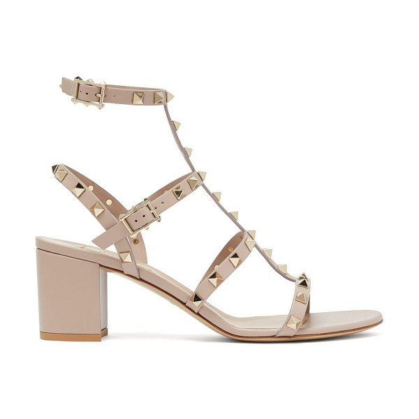 Valentino rockstud block-heel leather sandals in nude
