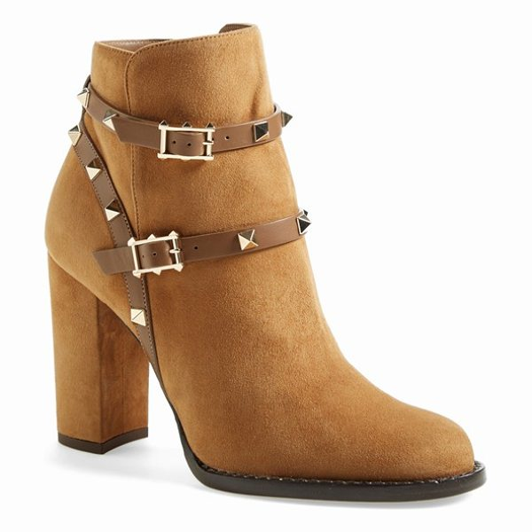 Valentino rockstud bootie in tan - Harness-style straps trimmed in signature pyramid studs...