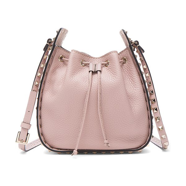 """Valentino Rockstud Bucket Bag in pink - """"Genuine grained leather with raw lining and pale..."""