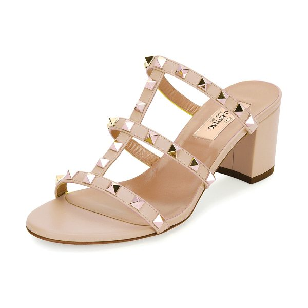 Valentino Rockstud Caged 60mm Slide Sandals in poudre