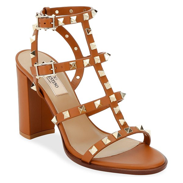 Valentino Rockstud Caged Leather 90mm City Sandals in brown