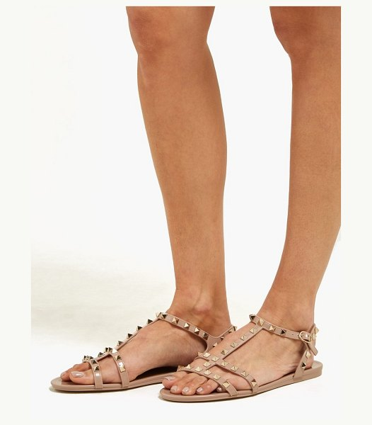 Valentino rockstud caged pvc sandals in nude