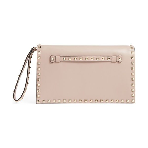 Valentino rockstud calfskin leather clutch in poudre - Signature rockstuds trace the clean, modern profile of a...