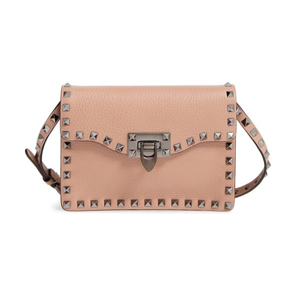 Valentino 'rockstud' calfskin leather shoulder bag in soft noisette - Signature pyramid studs trace the clean, modern profile...