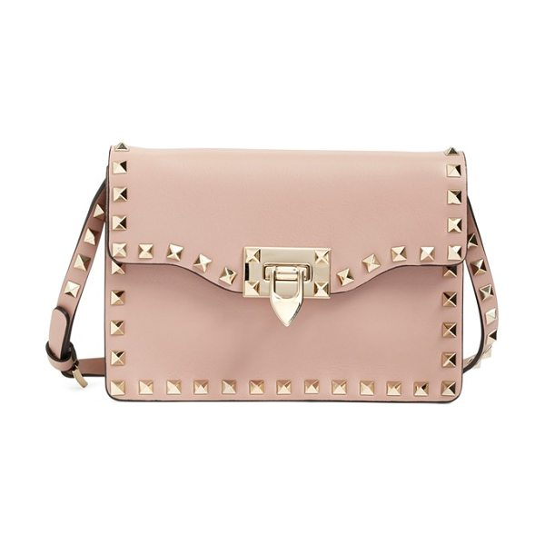 Valentino Rockstud calfskin leather shoulder bag in poudre - Signature pyramid studs trace the clean, modern profile...