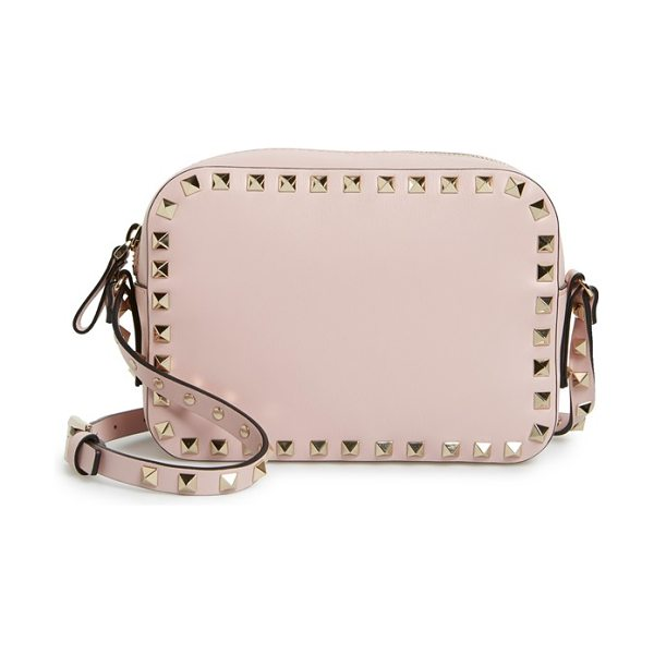 Valentino Rockstud camera crossbody bag in water rose