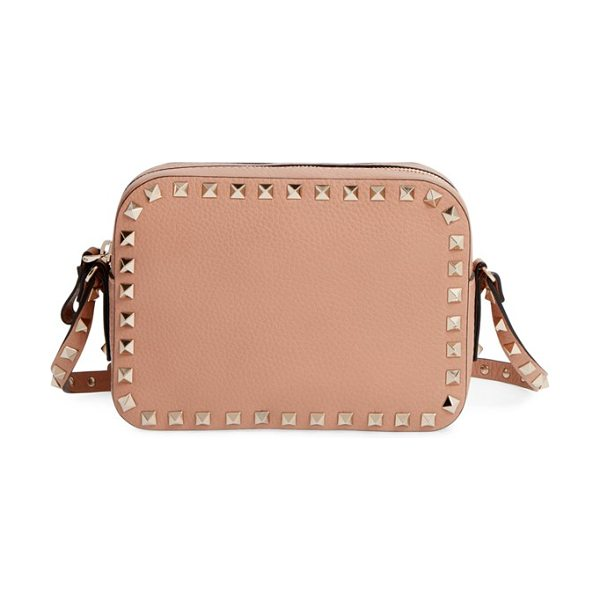 Valentino Rockstud camera leather crossbody bag in soft noisette