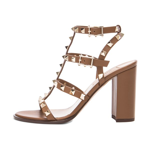 Valentino Rockstud chunky leather heels t.90 in brown - Leather upper and sole.  Made in Italy.  Approx 100mm/ 4...