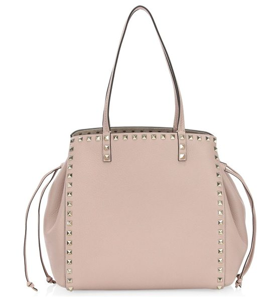 Valentino rockstud cinched leather tote in poudre - Studded pebble leather tote with cinched drawstring...